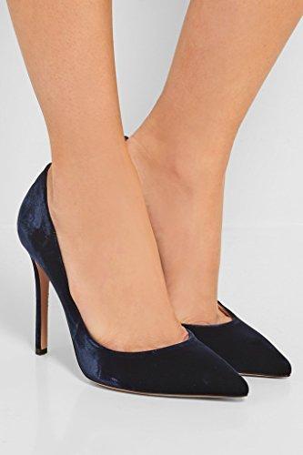 Fete Vernis Chaussures Soiree Taille Aiguille VelvetNavy PU à Pointu Bout Femme Talons Escarpins Grande Hauts Cuir EDEFS 7qA5wROO