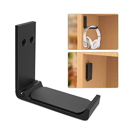Foldable Headphone Hanger Headset Stand Holder Under Desk Universal Aluminum Gaming Headphones Hook Mount Compatible for Sennheiser, Sony, Audio-Technica, Bose, Beats, AKG Gaming Headsets, Black