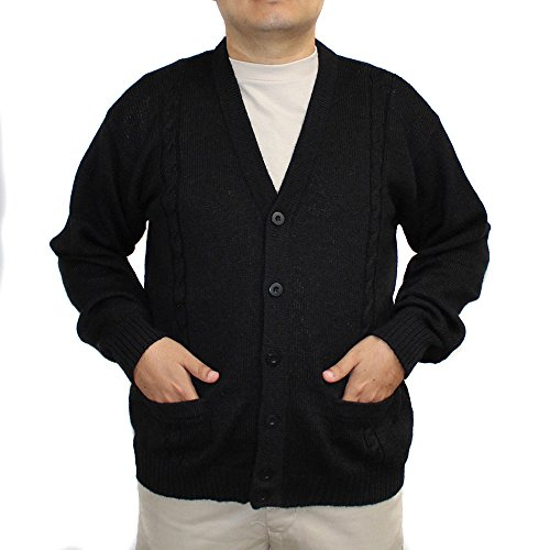 Jersey V-neck Cardigan - ALPACA CARDIGAN JERSEY BRIAD V neck buttons and Pockets made in PERU BLACK 4XL