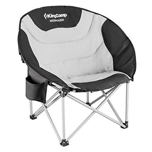 Cheap KingCamp Moon Saucer Leisure Heavy Duty Steel Camping Chair Padded Seat (Grey with Cup Holder and Cooler Bag) (Grey) camping moon chair