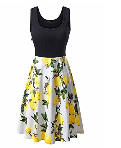Women's Vintage 1950's Sexy Scoop Neck Midi Dress Sleeveless A-line Cocktail Party Tank Dress Floral Print Swing Casual (XL,Yellow) Bargain sale cheap inexpensive discount wholesale unique Best Hot Hi ()