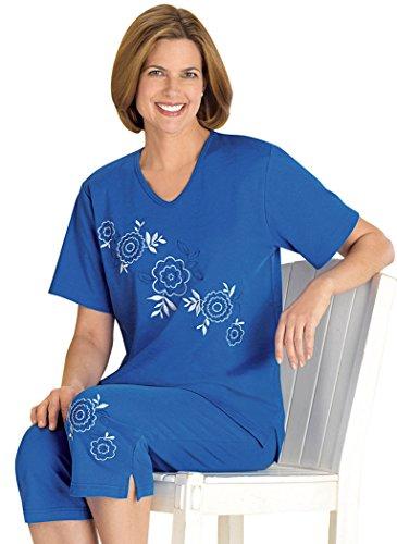 Diagonal Embroidered Capri Set Marine Blue
