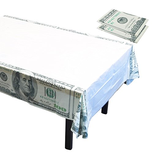 Plastic Table Covers - 3-Pack Casino Money Themed Party Supplies, Disposable Plastic Tablecloth, Hundred Dollar Cash Bills Design, White, 54 x 108 Inches -