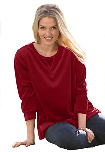Womens-Plus-Size-Top-Sweatshirt-In-Plush-Tunic-Length-Velour-Knit