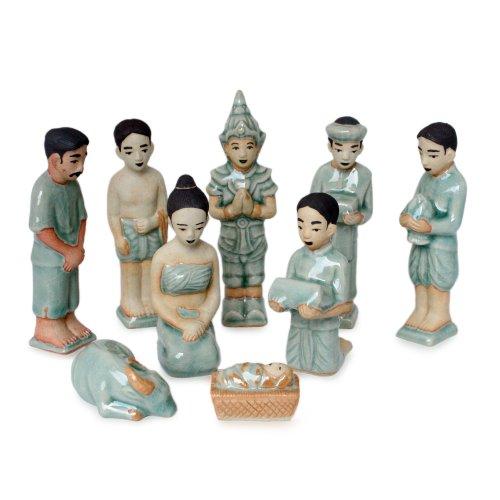 NOVICA Blue Celadon Ceramic Handmade Christmas Holiday Nativity Scene, 5'' Tall 'Thai Christmas' (Set of 9) by NOVICA