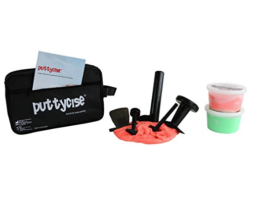 CanDo 10-2851 Puttycise Theraputty Tool, 5-Tool Set with 2 x 1 lb, Putties Red and Green with Bag by Cando