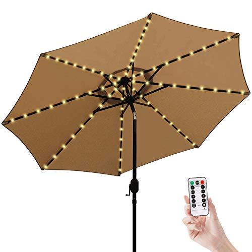 Patio Umbrella Lights Cordless Parasol String Lights with Remote Control 8 Mode 104 LED Umbrella Pole Light Battery Operated Waterproof for 9ft-10ft Umbrella Outdoor Lighting