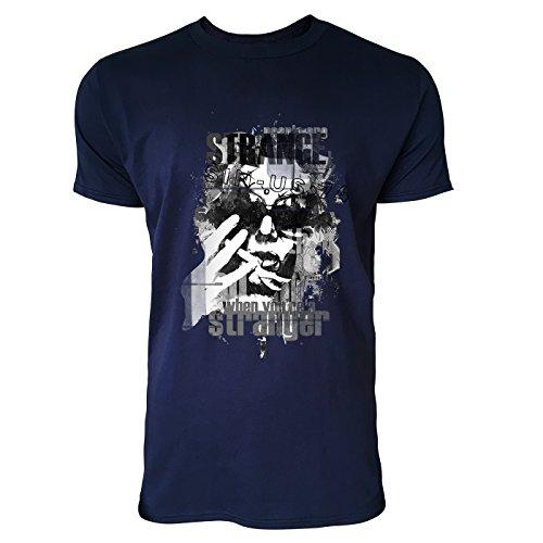 SINUS ART® Frau mit Sonnenbrille und Typografie Herren T-Shirts in Navy Blau Fun Shirt mit tollen Aufdruck