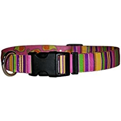 """Yellow Dog Design Pink Stripes Dog Collar, X-Small-3/8 Wide and fits Neck Sizes 8 to 12"""""""