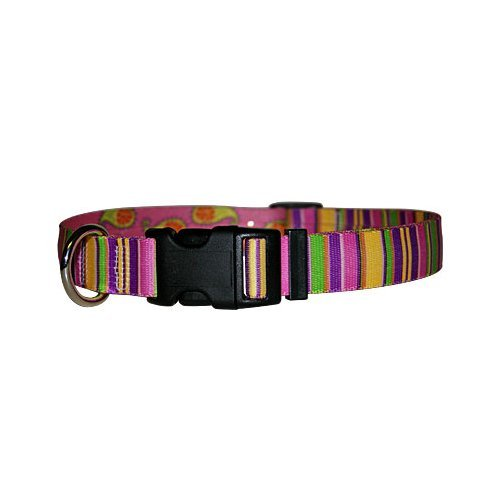 Large 18\ Yellow Dog Design Pink Stripes Dog Collar, Large-1  wide fits neck sizes 18 to 28