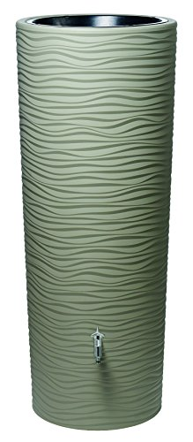 Exaco Trading Company 326152 ST 92 gallons 14'' High The Wave Rain Barrel with Planter, Sahara Tan by Exaco Trading Company