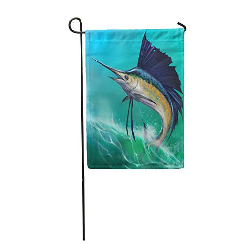 "Semtomn 28""x 40"" Garden Flag Blue Marlin Sailfish on The of Waves in Jump Jumping Swordfish Water Animal Aquatic Home Outdoor Decor Double Sided Waterproof Yard Flags Banner for Party"