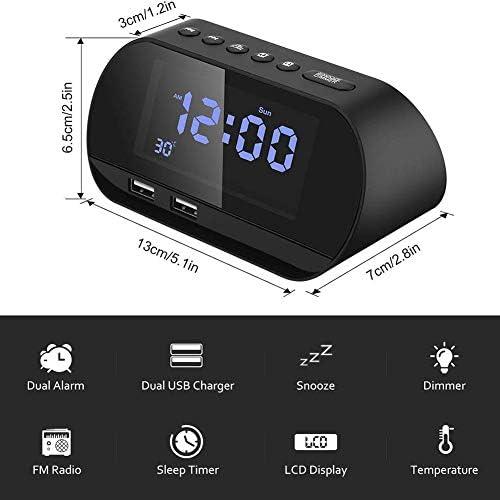 デュアルUSB充電端子、デュアルアラーム輝度温度表示時間とクロックラジオデジタルFMクロックラジオ,黒
