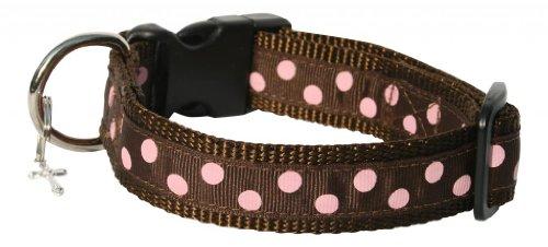 A Polka Dot Life 'Bailey' Brown and Pink Polka Dot Dog Collar, Small