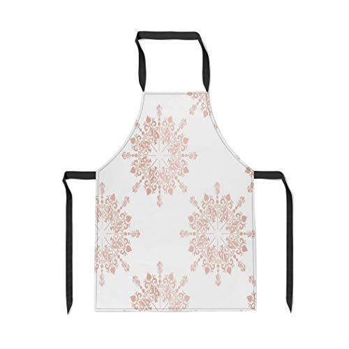 Pinbeam Apron Pink Blush Rose Gold Large Floral Lace Toile with Adjustable Neck for Cooking Baking Garden