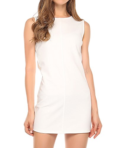 Match Women's Sleeveless Cocktail Dress (M, 127 White)