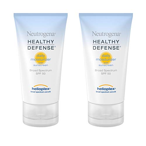 Neutrogena Healthy Defense Daily Vitamin C & Vitamin E Face Moisturizer, Non-Greasy Anti Wrinkle Face Lotion & Neck Cream with SPF 50 Sunscreen - Multivitamin Complex, 1.7 fl. oz(Pack of 2)