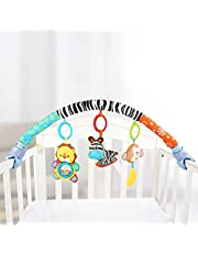 Baby Travel Play Arch Stroller/Crib Accessory,Cloth Animmal Toy and Pram Activity Bar with Rattle/Squeak/Teethers(Stripe)