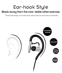 JUNEHOUSE S503 Bluetooth Earbuds Headset for iPhone / Tablet / Smartphone Long Hours IPX4 Waterproof Sweatproof Gym/Workout/Running (Silvergray)