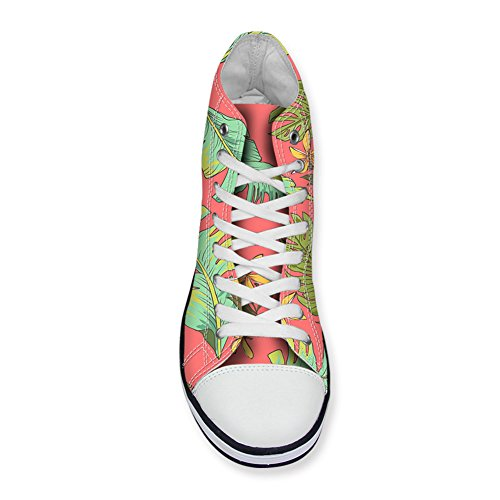 FOR U DESIGNS Women High-Top Canvas Shoes Tropical Floral Design Lace-Up Ankle Sneakers Pink z7wC3aDs
