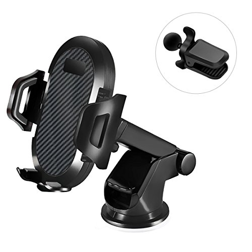 Car Phone Mount, 3 in 1 Phone Holder for Dashboard, Windshield and Air Vent, with Strong Pad & Screwed Clip Designed for all Vehicle, Compatible for iPhone Samsung GPS or Other 4.5-6.5 inch Cellphone from CORNMI