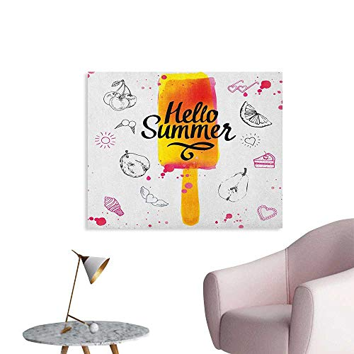 - Anzhutwelve Ice Cream Wallpaper Hello Summer Motivational Quote with Lime Heart Sun Cake Color Splashes Image Poster Print Multicolor W36 xL32