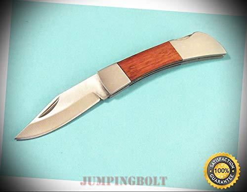 Wood handle 212786BX stainless steel folding lockback pocket knife 3'' closed - Knife for Bushcraft EMT EDC Camping Hunting