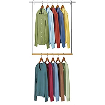 Perfect Lynk Double Hang Closet Rod Organizer   Clothing Hanging Bar   Chrome/Wood