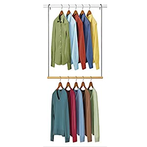 Lynk Double Hang Closet Rod Organizer   Clothing Hanging Bar   Chrome/Wood
