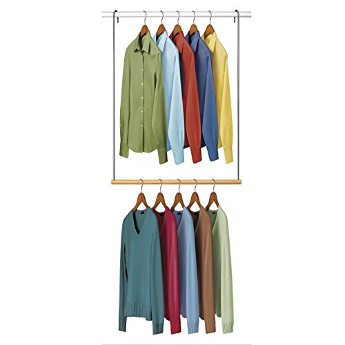 Lynk Double Hang Closet Rod Organizer - Clothing Hanging Bar - Chrome/Wood (Double Hang Closet)