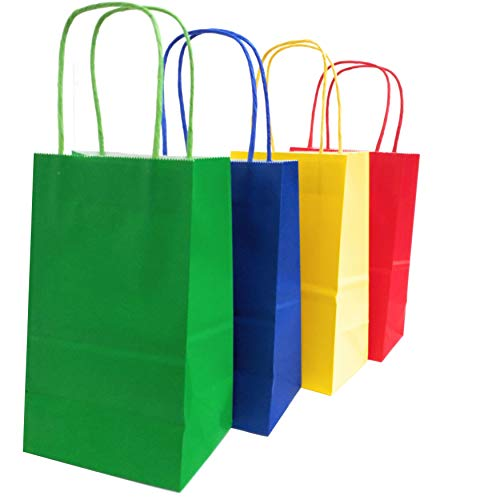 Kelkaa Party Kraft Bags 24pcs 5.25x3.5x8.5 Inches, Paper Bags with Handles for Birthday, Wedding Party Favors, Bachelorette Party,Tote Bag, Party Themes, Assorted Red, Yellow, Green, Royal Blue(Small) (Green Paper Favor Bags)