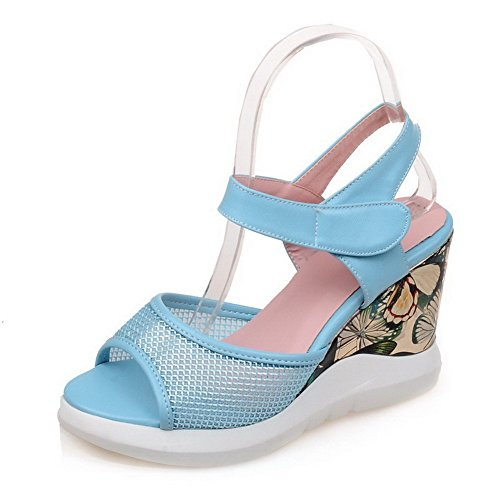 AgooLar Mujeres Pu Plataforma Puntera Abierta Sólido Velcro Sandalia Azul