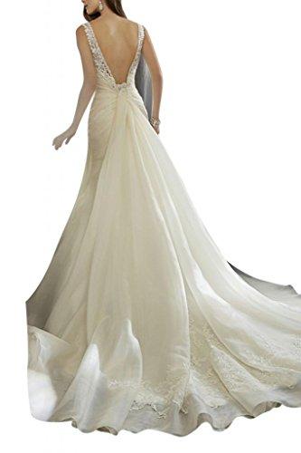 Toscana sposa benda Mermaid Rueckenfrei abiti da sposa da sogno per Organza principessa matrimonio sposa moda