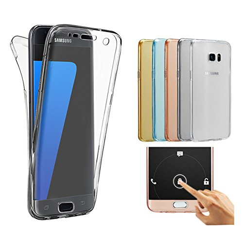 Price comparison product image Samsung S7 edge Case ,360 Degree Full Coverage Clear Crystal Gel TPU Case (Clear)
