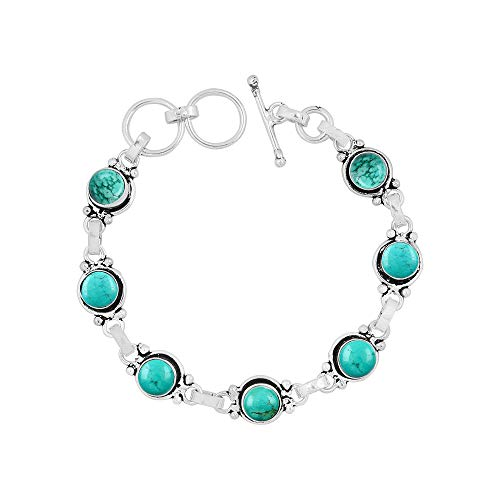 Natural 7mm Round Shape Turquoise Link Bracelet 925 Silver Overlay Handmade Jewelry for Women Girls ()
