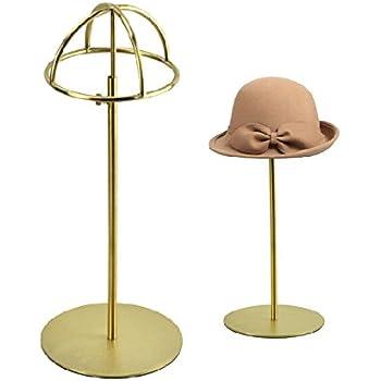 Beau Metal Tabletop Hat Rack / Wig Storage Holder Display Stand Holder (Matte  Gold)
