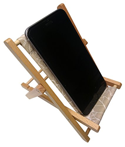 HANPO Cell Phone Holder Wood & Canvas Beach Deck Chair - Desk Stand for Smart Phone 5.5 Inches
