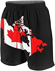 AHJOBOY Canada Flag Map Boys Novelty Swim Trunk Swimsuit Youth Quick Dry Board Shorts Swimwear with Pockets
