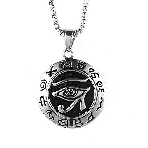 JAJAFOOK Men's 35mm Silver Stainless Steel Egypt Eye of Horus Symbol of Protection Round Pendant Necklace,Charm Pendant
