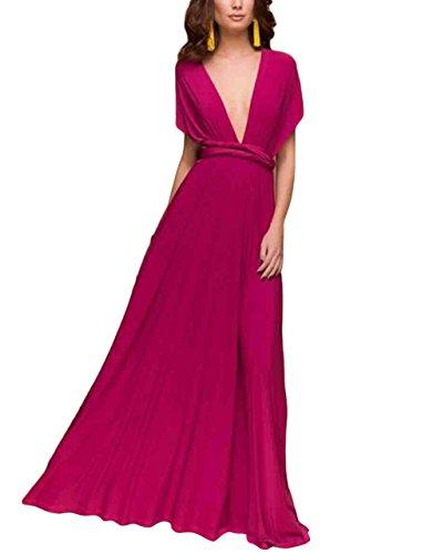 SELUXU Vestido de Las Mujeres de Alta Cintura Convertible Multi-Forma Abrigo Dama de Honor Formal Largo Vestidos Maxi Transformador/Infinito Vestido Rosa Caliente