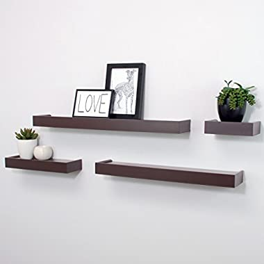 nexxt Vertigo Set of 4 Ledge Shelves, 6 Inch, 12 Inch, 20 Inch, 24 Inch - Espresso
