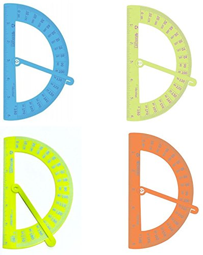 Westcott Swing Arm Protractor Plastic Set of 4 Geometry Set for Students 6 inch 6'' Ruler Colorful 4 Colors Included Blue Orange Green with Red and Green