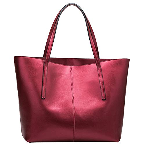 Womens Pu Leather Tote Bags Handbag Soft Top Handle Shoulder Bag Large Bag,Red-OneSize