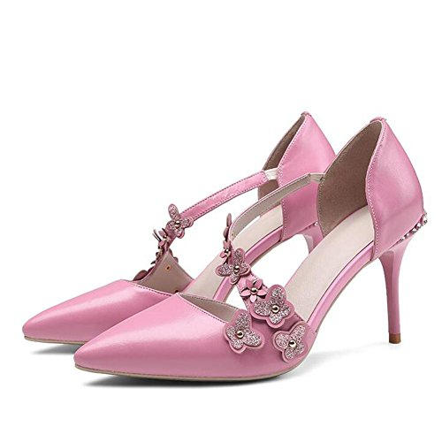 Shoes Pointed Pink Flowers 'S Heeled Wedding Shoes Women Baotou High L Autumn and Leather Summer Fine YC Fine Sandals Diamond With Sq6HOf