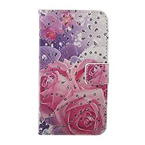 PEACH Pink Rose Pattern PU Leather Full Body Cover with Stand for Samsung Galaxy S4 I9500
