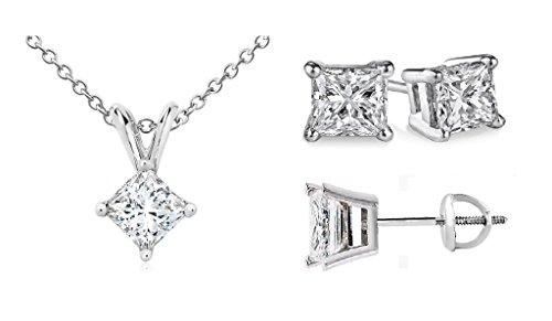 princess-cut-diamond-pendant-stud-set-popular-quality-screw-back-white-gold-025ct-i2-clarity