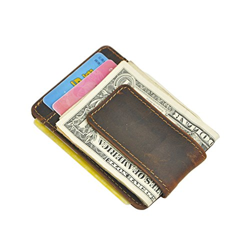 Boshiho Mens Crazy Horse Leather Money Clip with ID Window Front Pocket Wallet (ID Window Dark Brown)