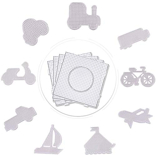 4pcs Square and 9pcs Cute Style Fuse Beads Pegboards Clear Plastic Template Beads Boards Children's Educational Toys for Kids Craft Beads (13 PCS)