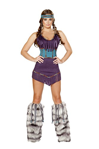 3 Piece Native American Indian Princess Purple Dress & Cincher Party Costume -