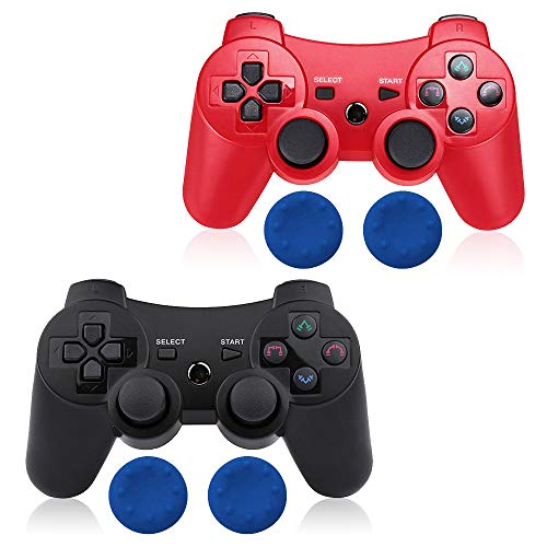 CHENGDAO PS3 Controller Wireless 2 Pack Double Shock Gamepad for Playstation 3 Remote,Six-axis Wireless PS3 Controller with Charging Cable (Red + Black)